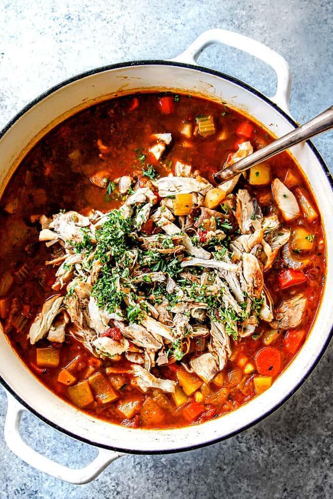 top view of Caldo de Pollo (Mexican Chicken Soup) with chicken ready to stir into the soup