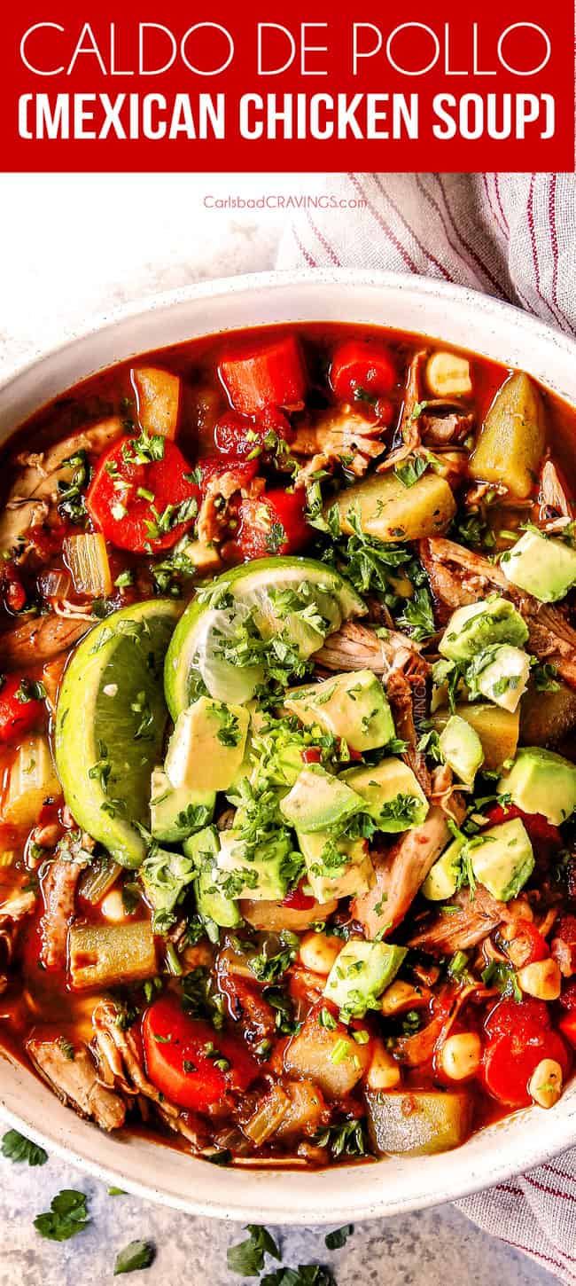 up close of a bowl of authentic showing how to make Caldo de pollo Mexicano (Mexican Chicken Soup) with chicken, potatoes, celery, carrots