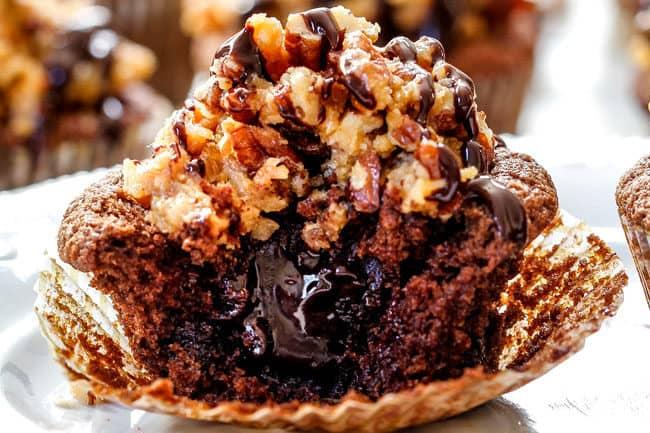 up close of chocolate ganche cupcake with creamy ganache center
