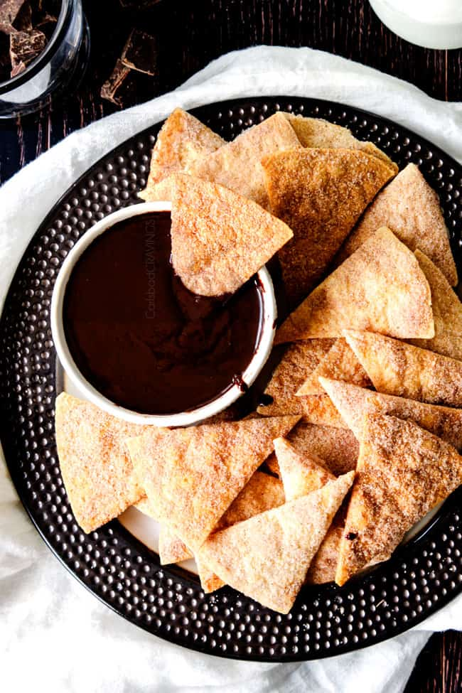 best chocolate ganache in a bowl as a dip for cinnamon chips