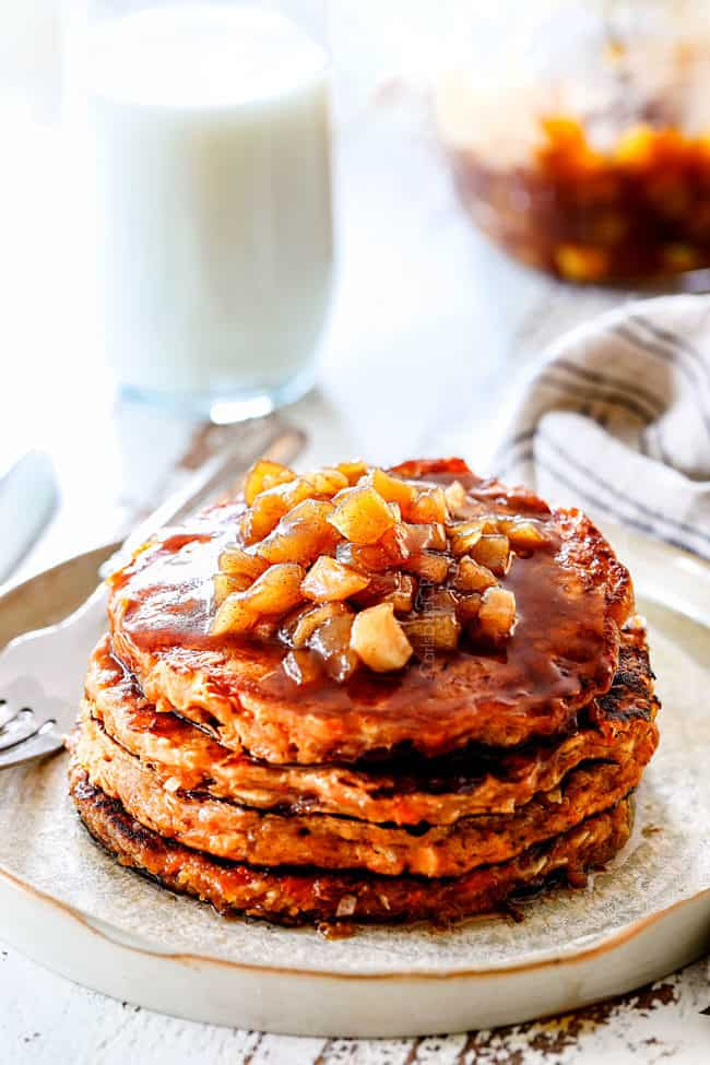 front view of easy sweet potato pancakes with apple syrup