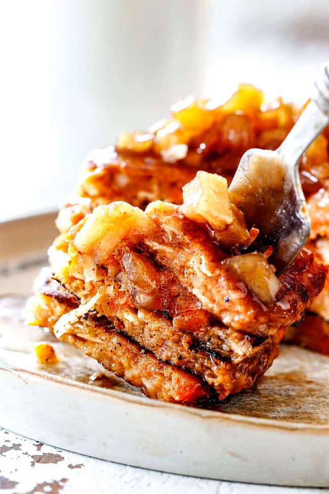 up close of a a forkful of the best sweet potato pancakes