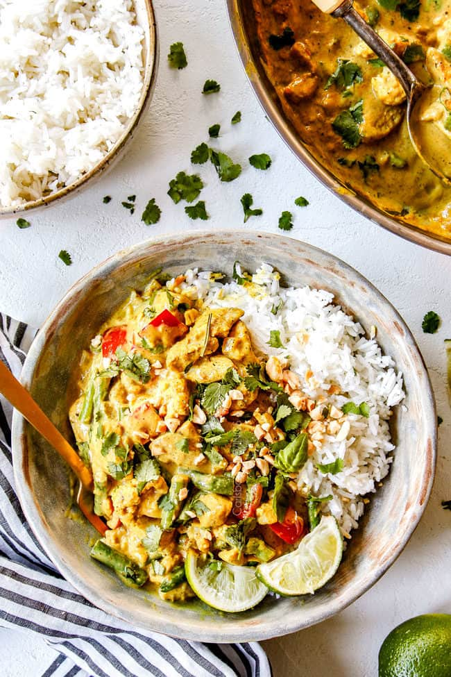 top view of thai coconut curry chicken in a bowl with rice