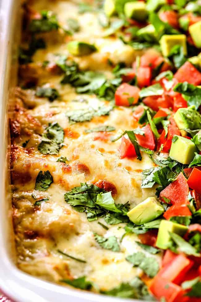 up close of easy enchiladas verdes