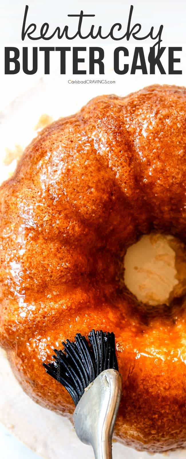 showing how to make the best Kentucky butter cake by glazing cake with butter sauce