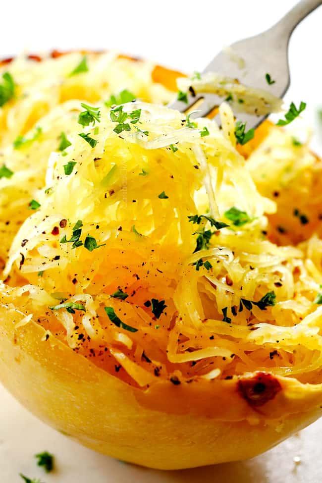 up close of a bite of roasted spaghetti squash