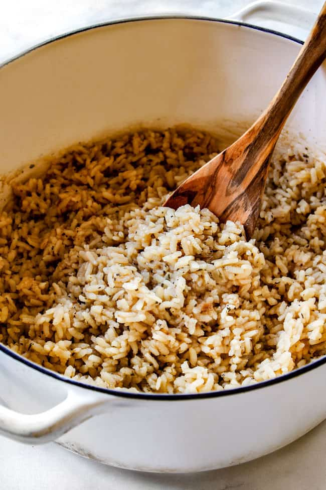 showing how to make risotto by toasting rice