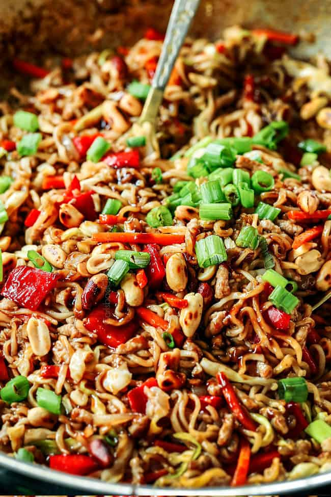 up close of instant ramen recipe with ground pork, bell peppers and green onions