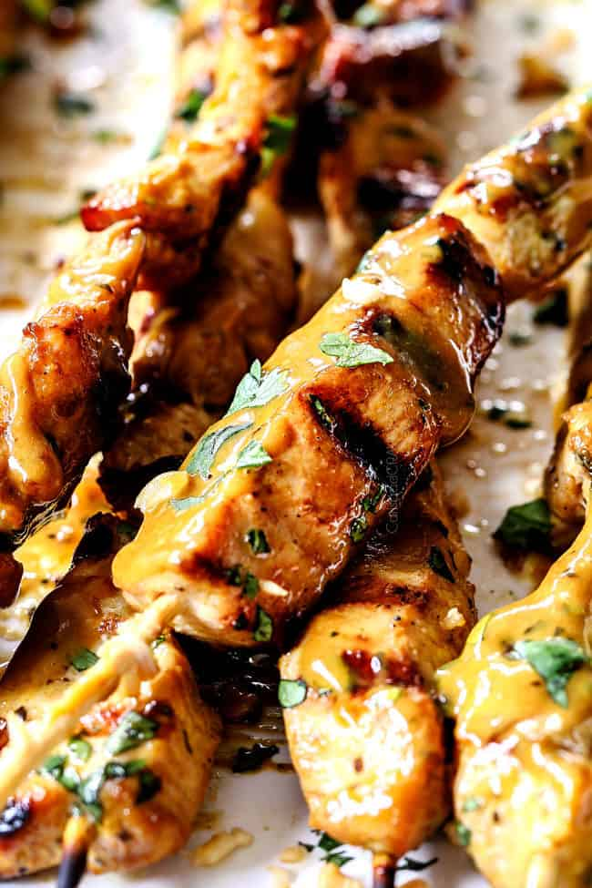 up close of chicken satay that can be grilled or baked