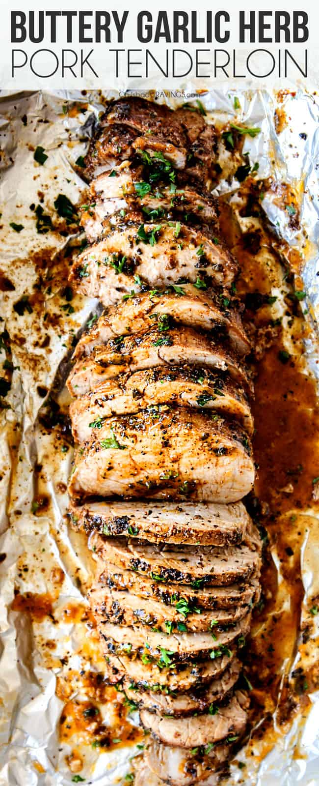 easy pork tenderloin oven sliced on a cutting board