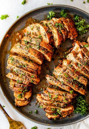 up close top view of best baked pork tenderloin