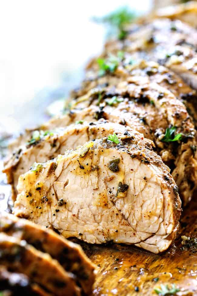 side view of best pork tenderloin with herb butter