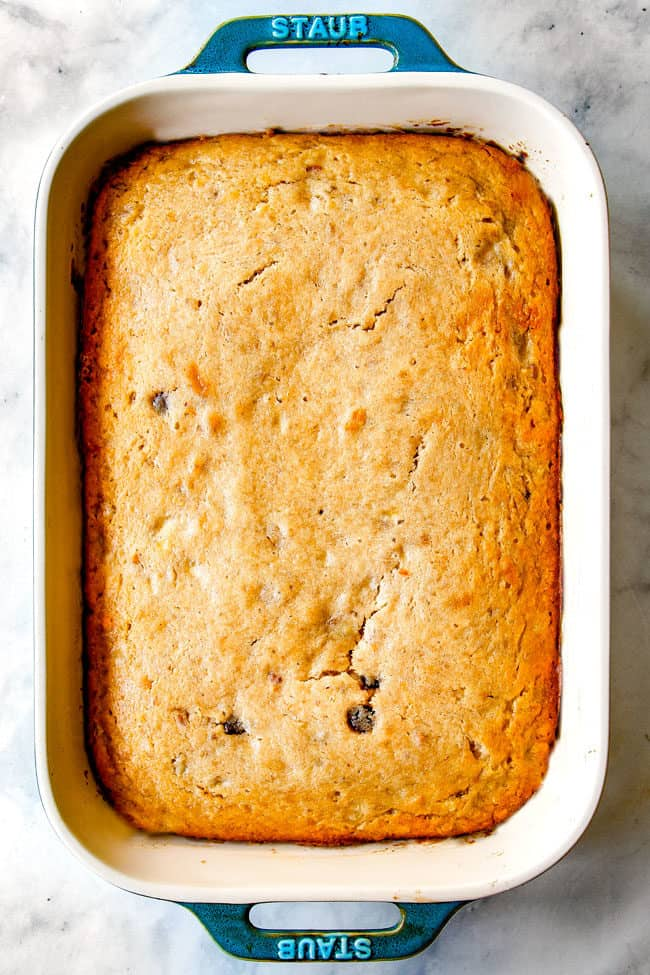 showing how to make banana cake by pulling baked cake out of an oven