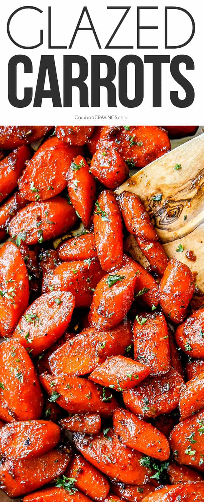 candied carrots (Glazed Carrots) with a wooden spoon