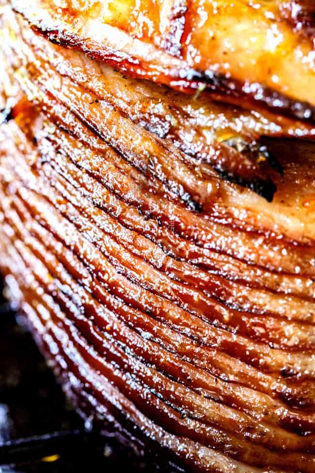 slices of honey baked ham with glaze