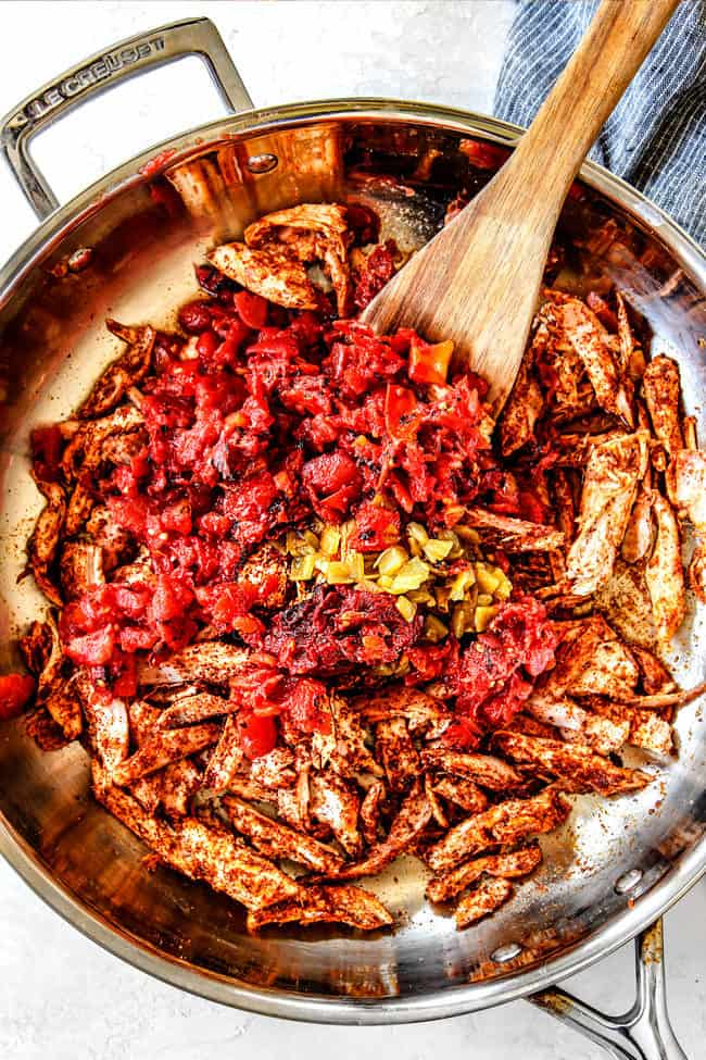 showing how to make Mexican Chicken by adding tomatoes an green chiles to chiicken