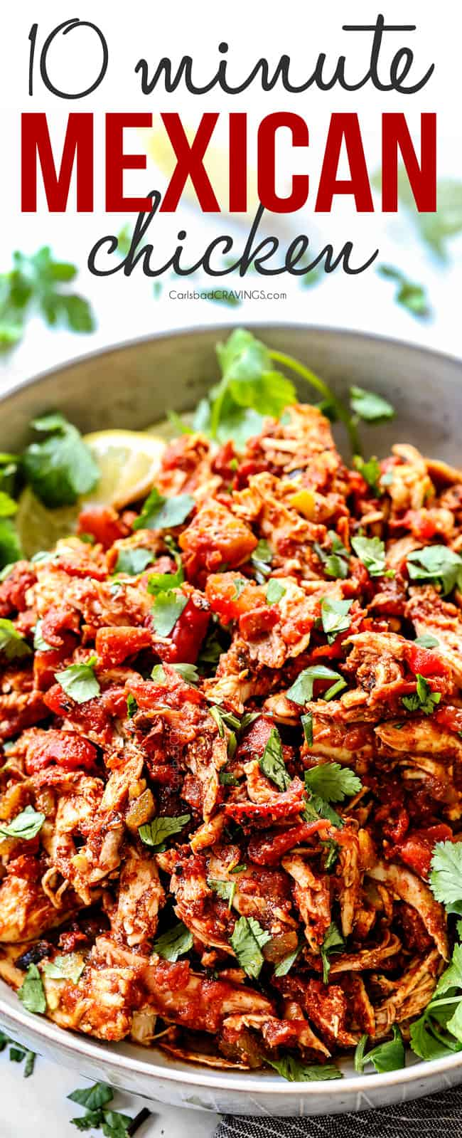 up close of easy Mexican shredded chicken with cilantro