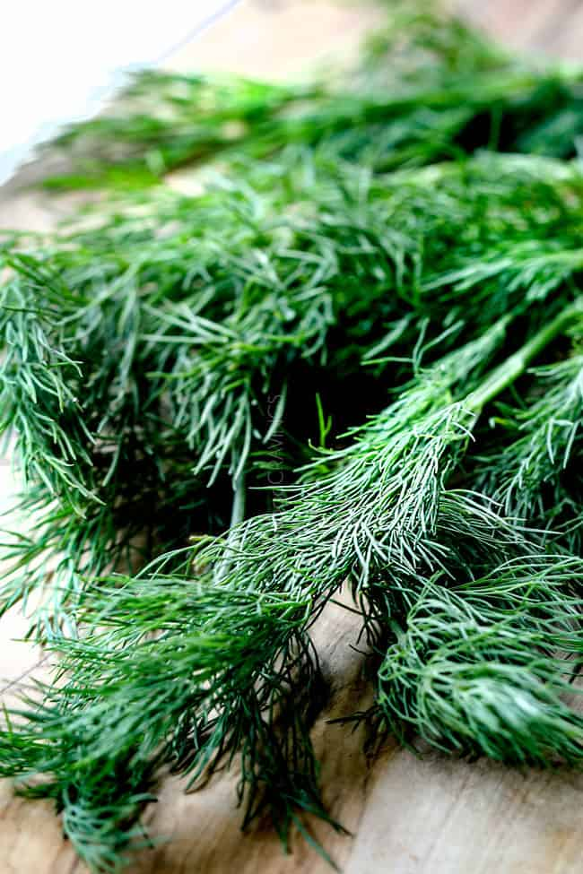 showing how to make dill sauce for salmon with an up close view of fresh dill on a cutting board