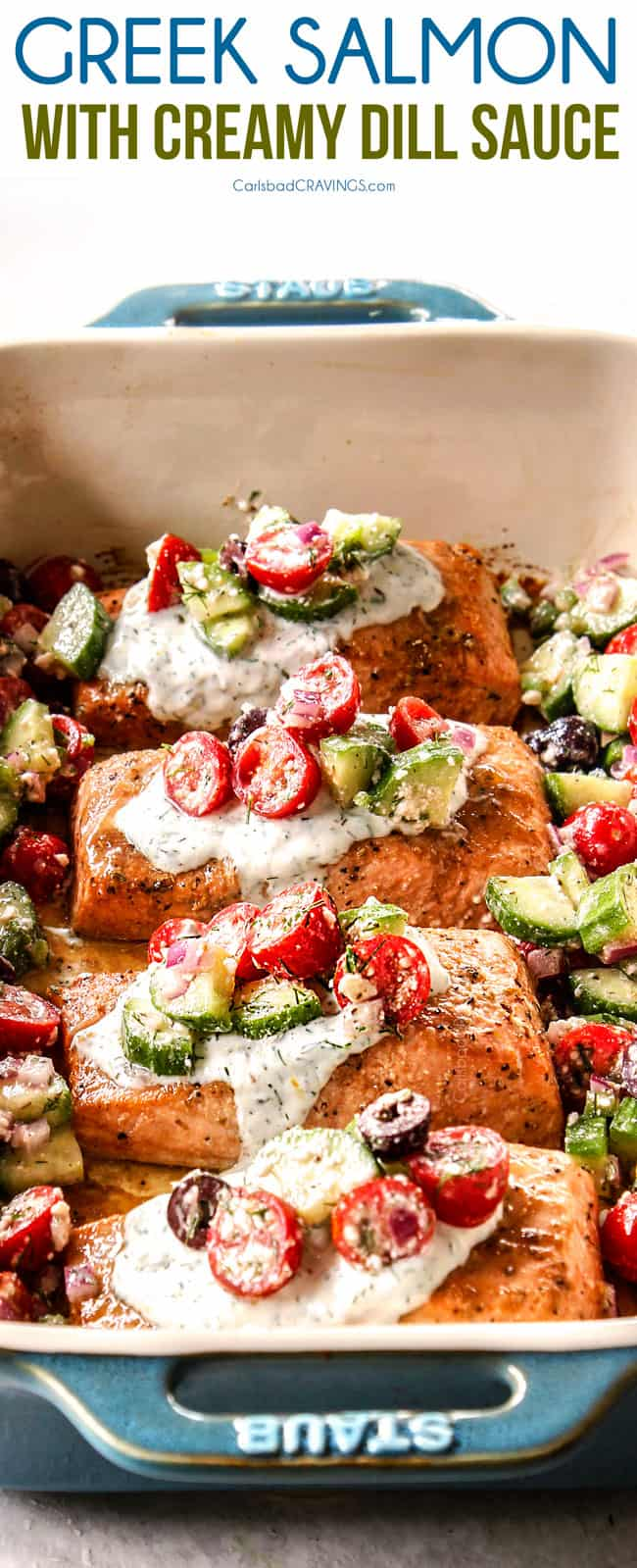 up close side view of healthy salmon recipe with dill sauce