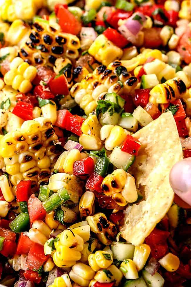 up close of corn salsa for tacos