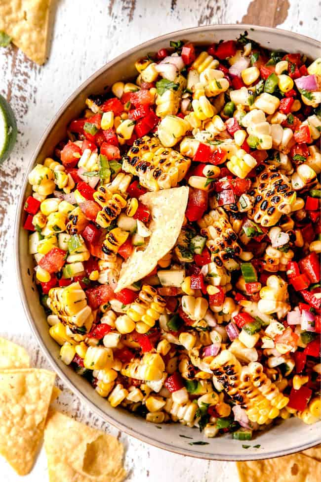 top view of burnt corn salsa in a bowl