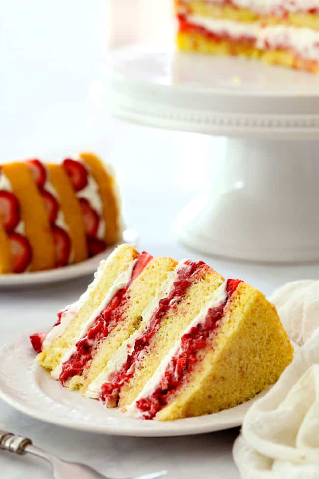 a far away view of a slice of strawberry shortcake cake recipe from scratch