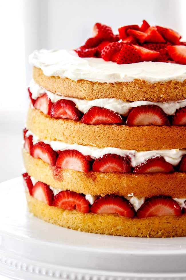 side view of strawberry shortcake cake recipe from scratch