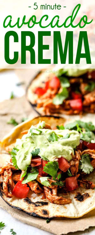 up close of easy avocado crema on tacos