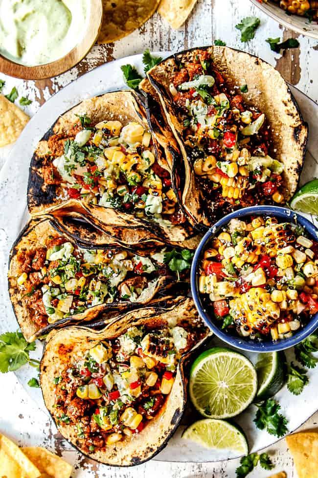 Quick and easy PORK TACOS with Corn Salsa amp Avocado Crema