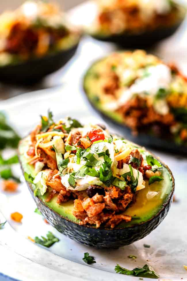 side view of the best stuffed avocados recipe