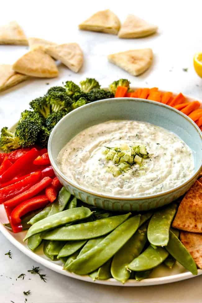 Tzatziki dip surrounded by veggies