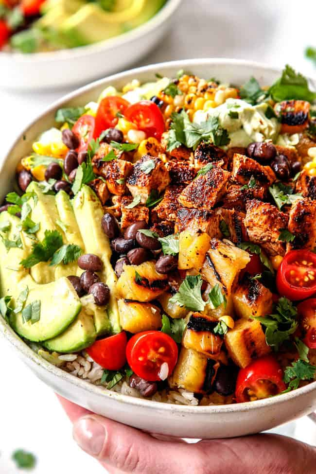 up close of best chicken burrito bowls