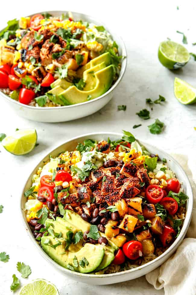 easy burrito bowl recipe with chipotle chicken, rice avocados