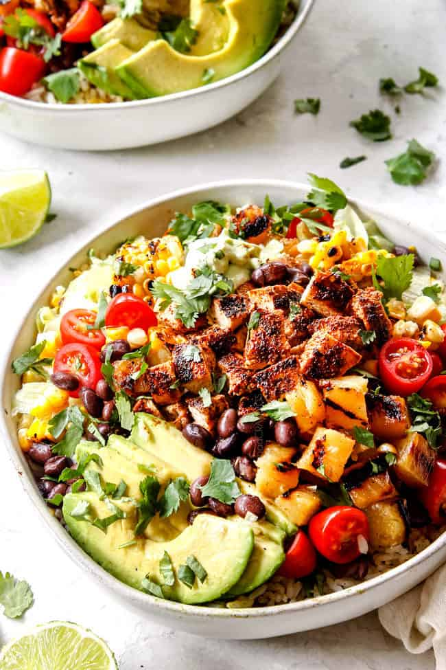 easy chicken burrito bowl recipe with grilled, marinated chicken
