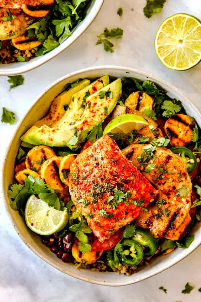 best salmon bowl with broccoli rice