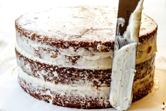 showing how to make hummingbird cake by frosting with a crumb layer