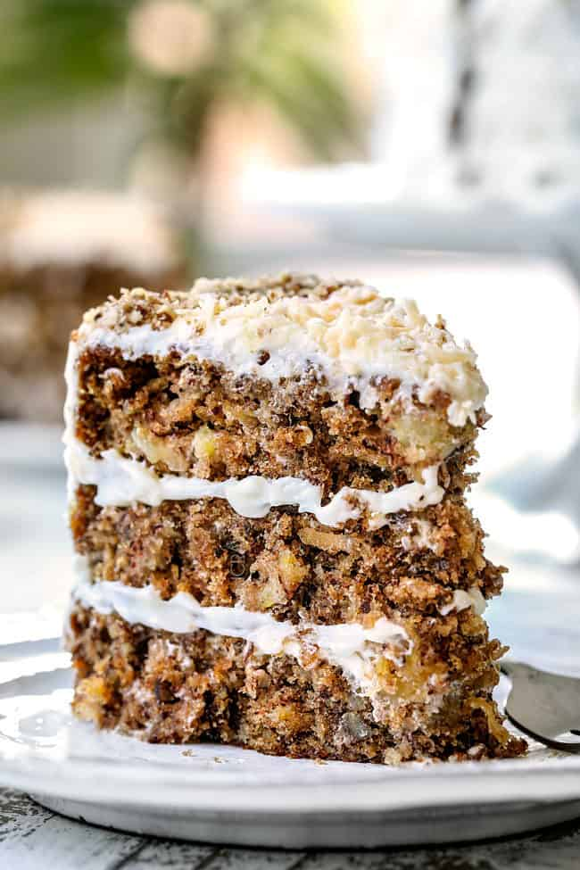 front view of hummingbird cake standing on a plate