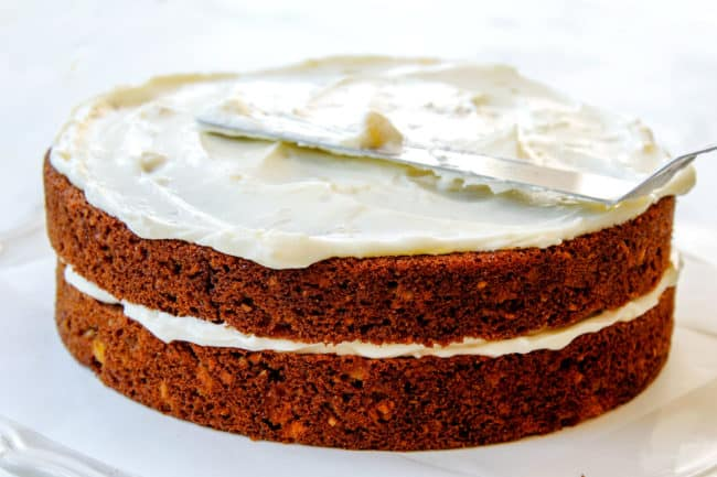 showing how to make hummingbird cake by frosting Hummingbird Cake recipe