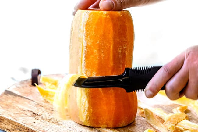 showing how to roast butternut squash by peeling squash
