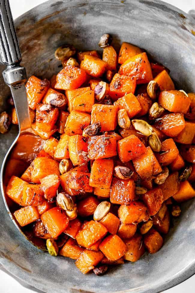 roasted butternut squash recipe in a bowl