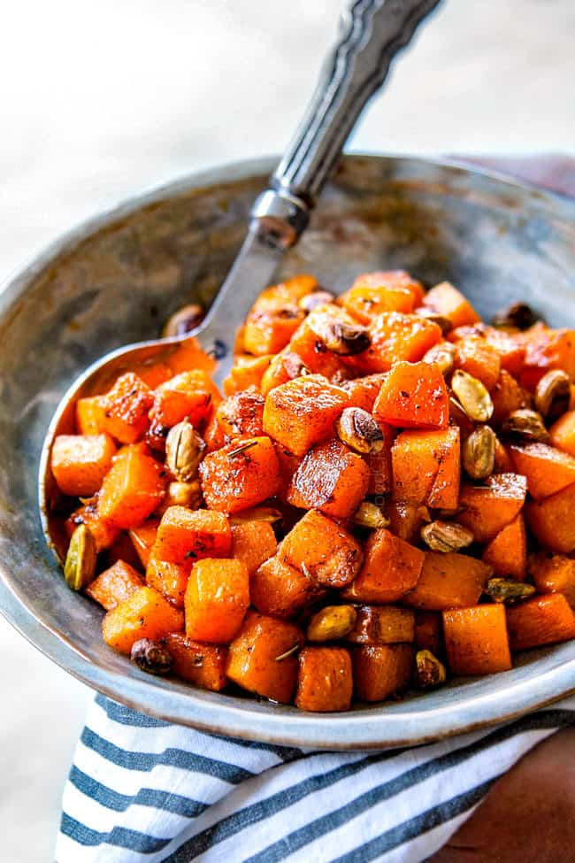 side view of roasted butternut squash cubes