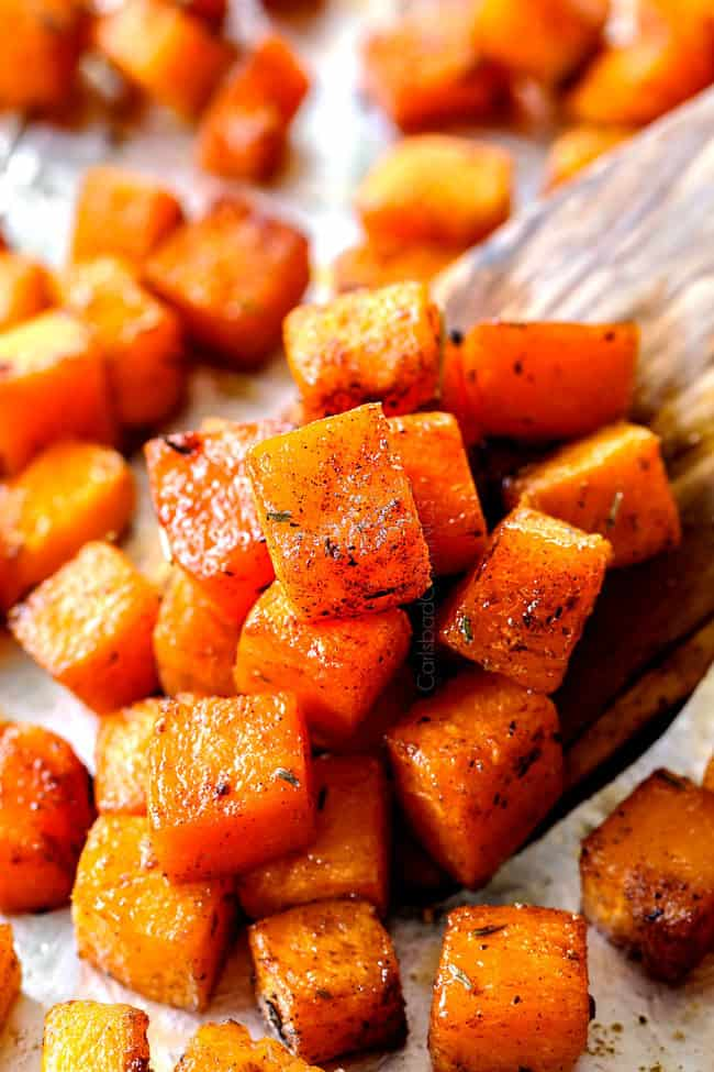 up close of roasted butternut squash cubes