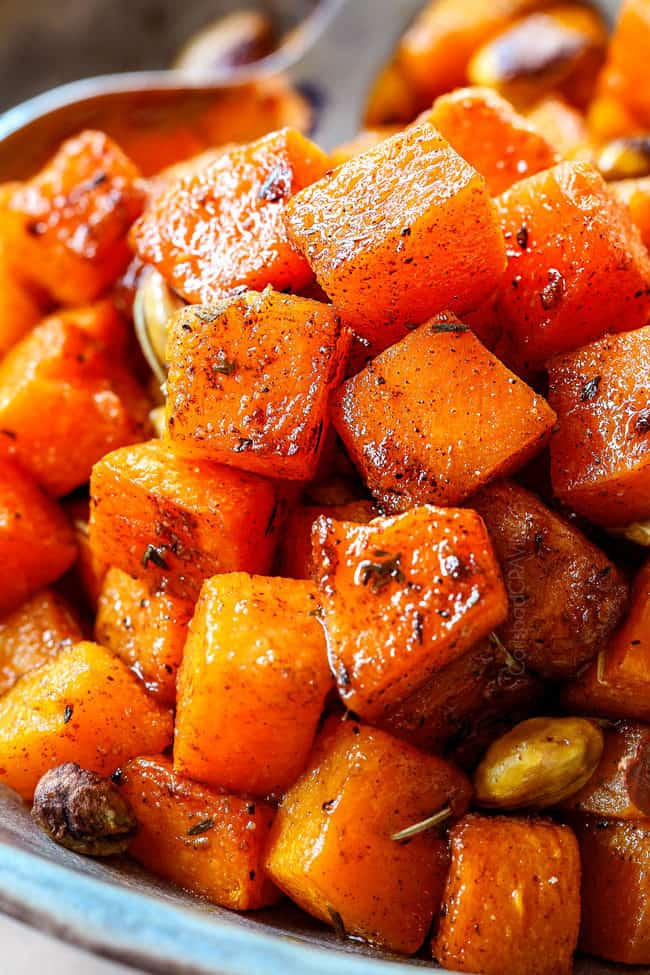 up close of butternut squash with brown sugar in a bowl