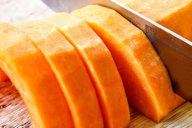 showing how to roast butternut squash by slicing
