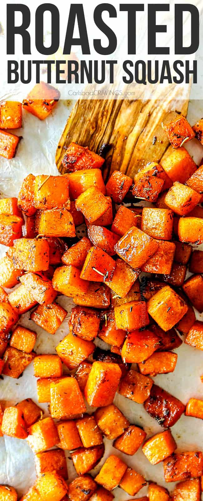 top view of oven roasted butternut squash