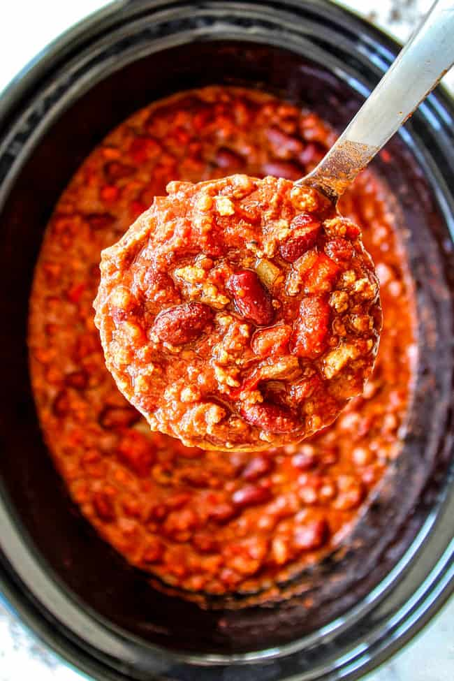 top view of serving easy crockpot chili recipe