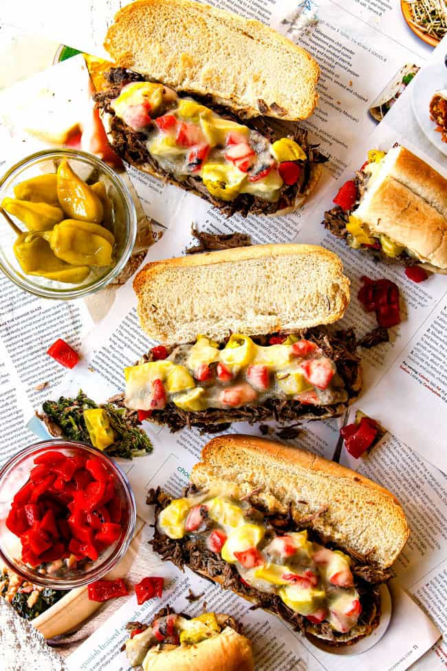 top view of Italian Beef Sandwich recipe showing how to serve