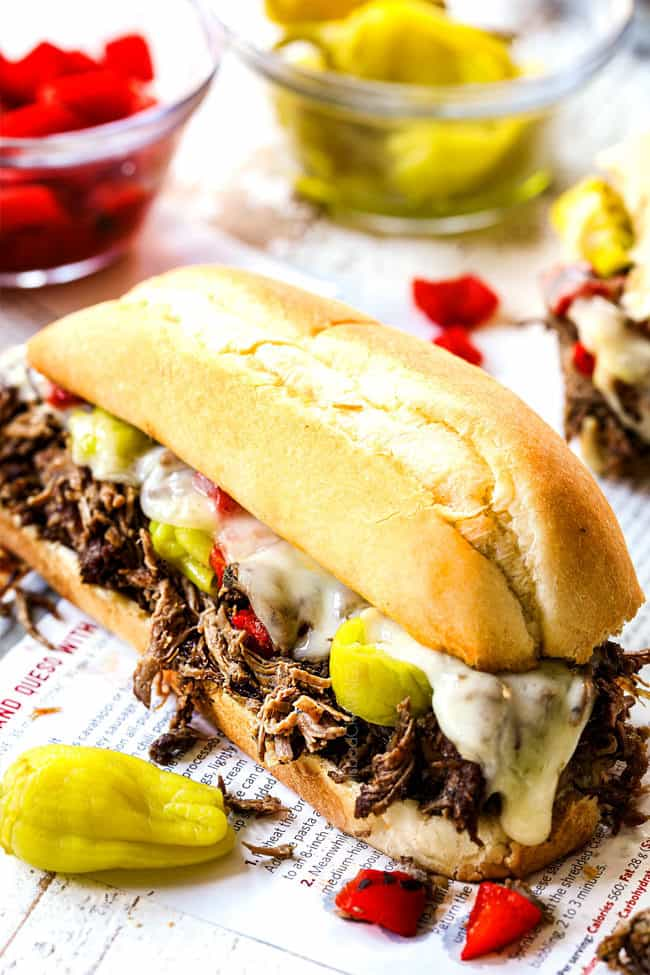 up close of slow cooker Italian Beef Sandwich with melted cheese