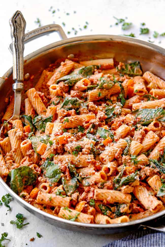 a skillet of easy rigatoni pasta with Parmesan