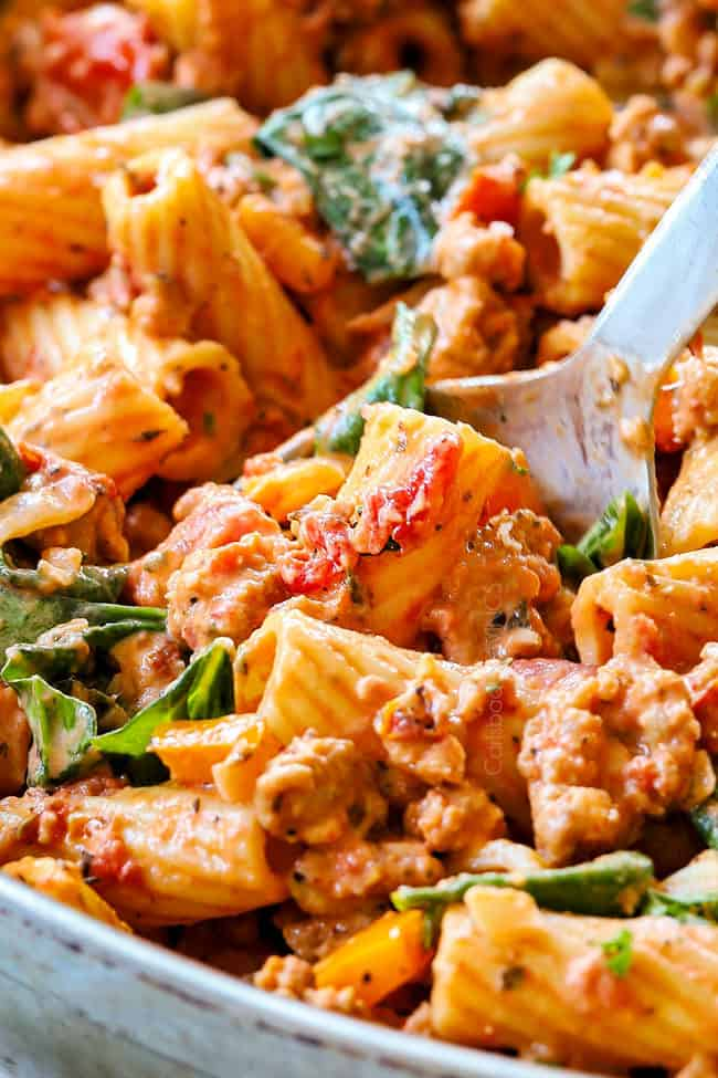 up close of rigatoni with meat sauce